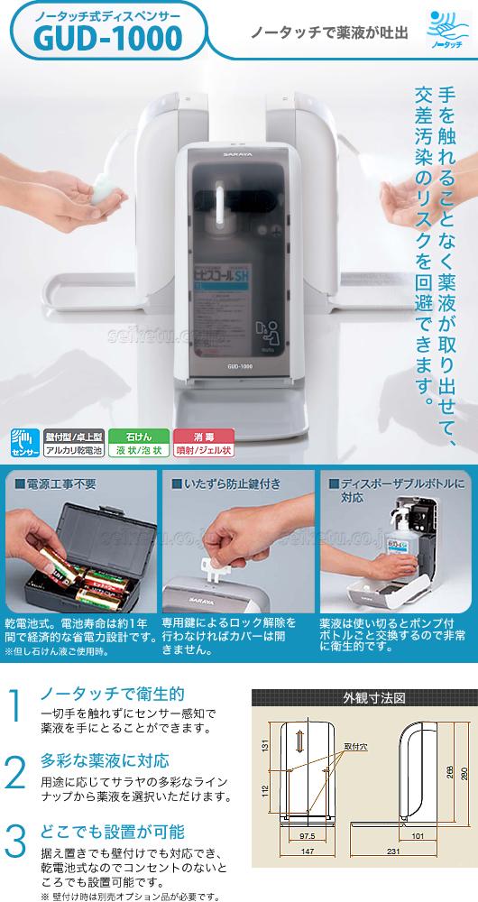 サラヤ GUD-1000-PHJ(ハンド除菌用)