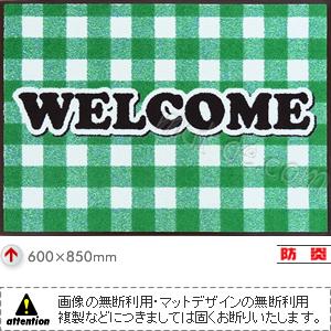 welcomeマット(ギンガム/グリーン)