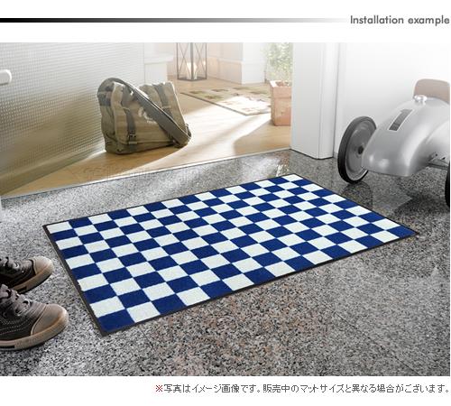 デザインマット(市松模様/ダークブルー)