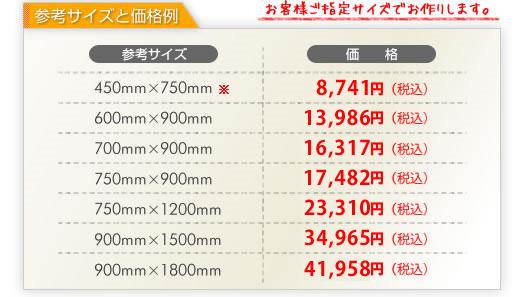 参考サイズと価格一覧